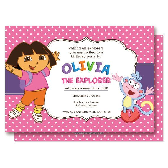 Dora Birthday Invitations by DelightPaperie on Etsy 2000 Kids