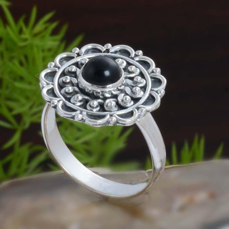 925 STERLING SILVER BLACK ONYX EXCLUSIVE RING 4.53g DJR10822 SZ-7.5 #Handmade #Ring