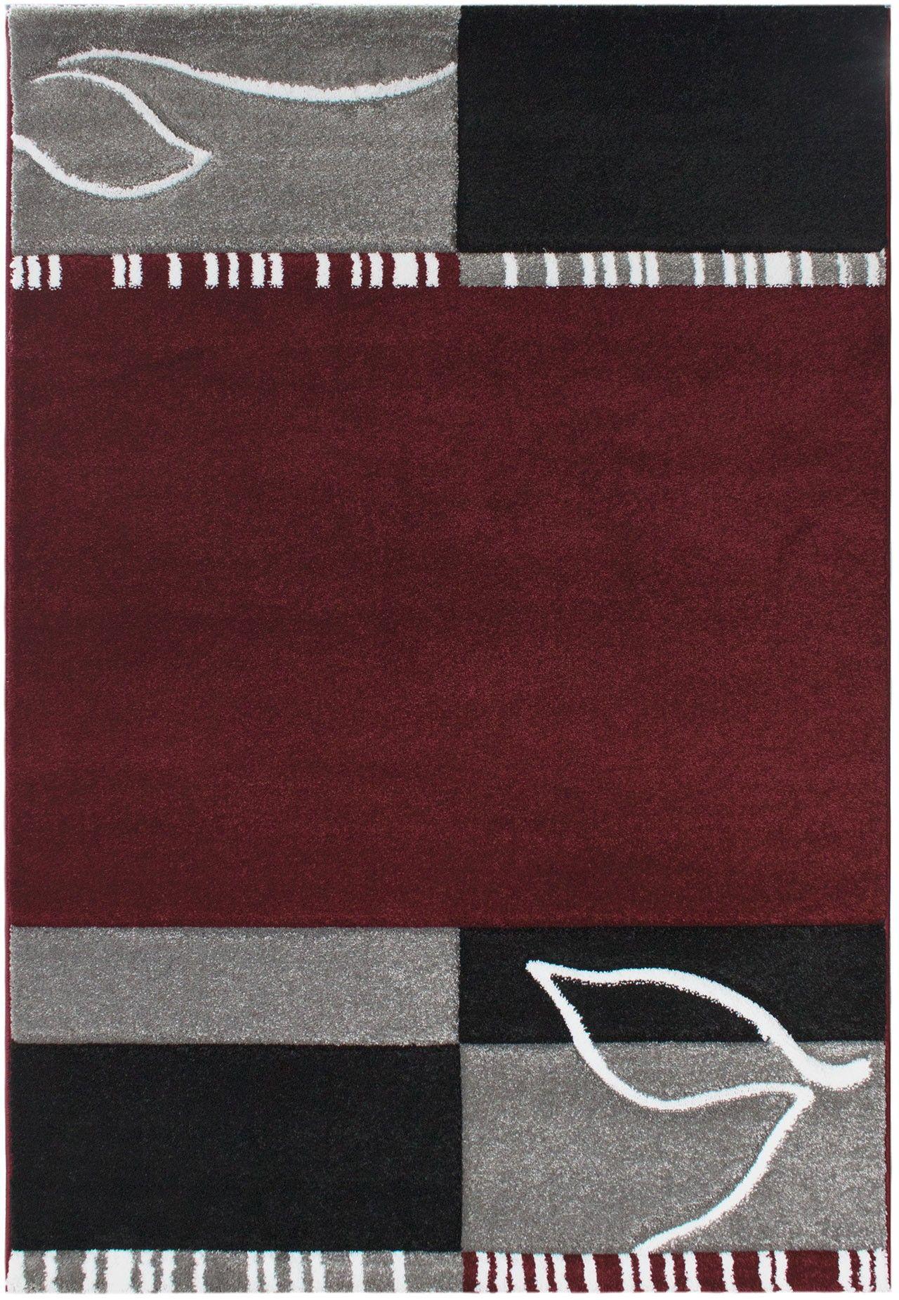 Florida 912 Rot Grau Teppich Carpet Modern Grau Beige Braun Weiss