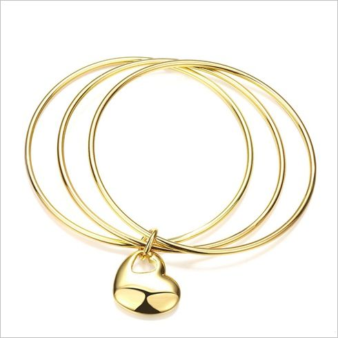 Women's Jewelry Three Times Hanging Heart Bracelet Gold Charm Br [AKZ007] - Women's Fashionat Pinterest Online