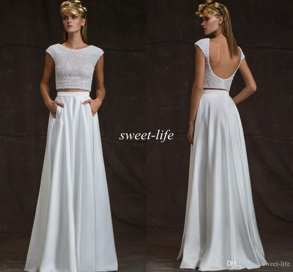 Modest crop top sheath wedding dresses with short sleeve pocket
