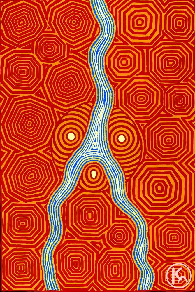 """Lander River"" by Malcolm Maloney Jagamarra 127cm x 187cm ***ON SALE $8,000***  http://www.aboriginalartstore.com.au/artists/malcolm-maloney-jagamarra/lander-river/"