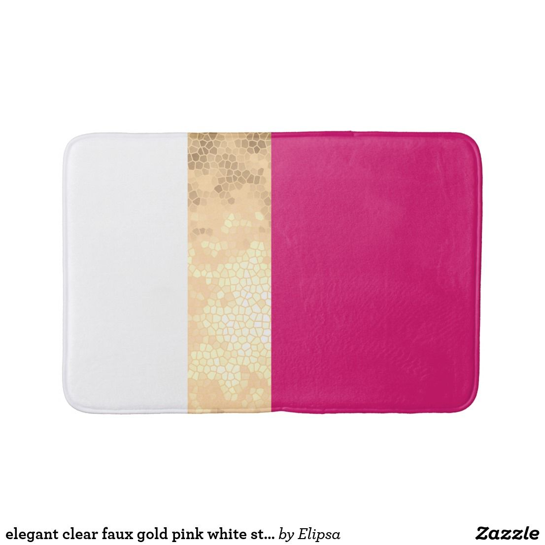 Elegant Clear Faux Gold Pink White Stripes Bath Mat Zazzle Com