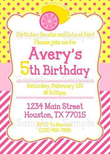 Printable pink lemonade stand personalized birthday party invitation printable pink lemonade stand personalized birthday party invitation ameraznstyle digital art on artfire filmwisefo