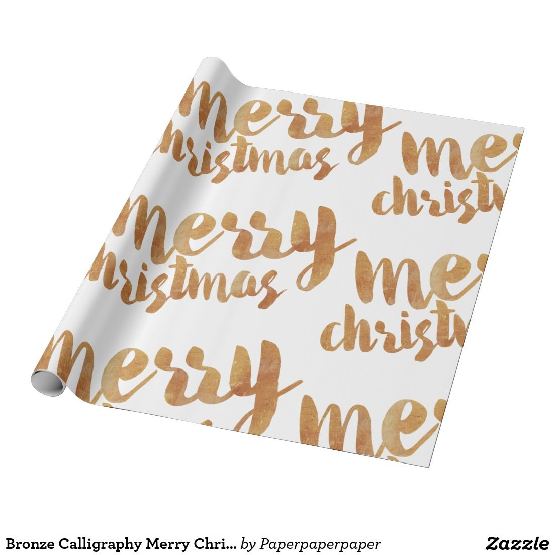 Bronze Calligraphy Merry Christmas Wrapping Paper | Christmas ...