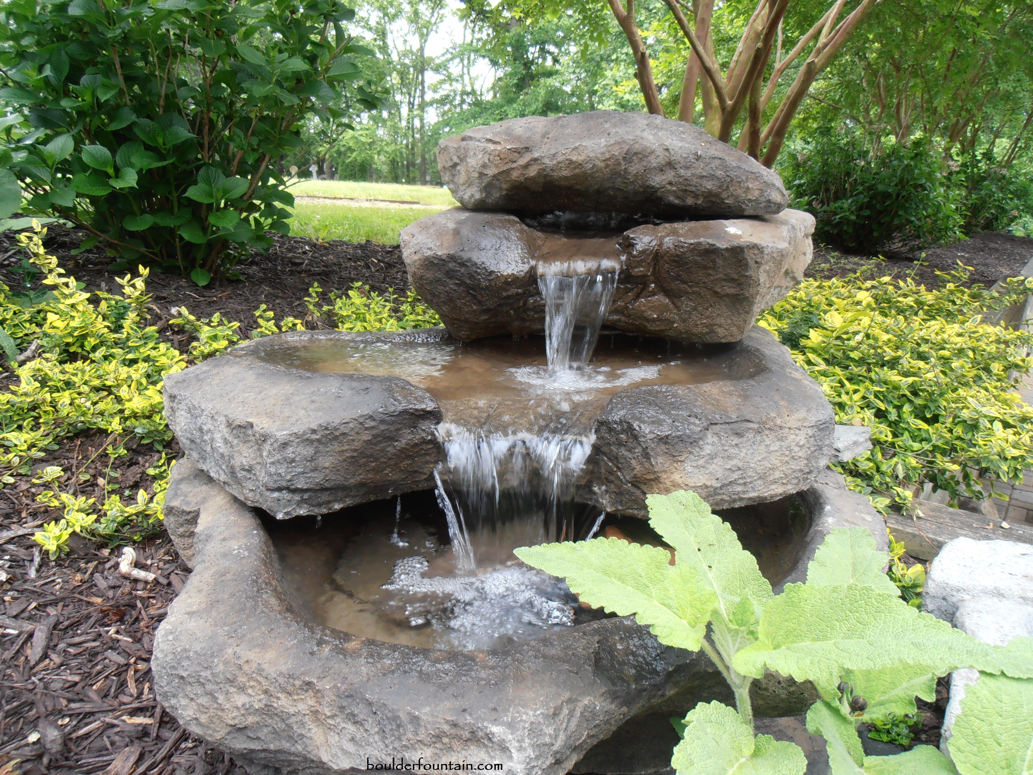 Stacked Rock Falls Make Sure To Watch The Video On Our Web Site Http Www Boulderfountain Com B Garden Water Fountains Water Features Backyard Water Feature
