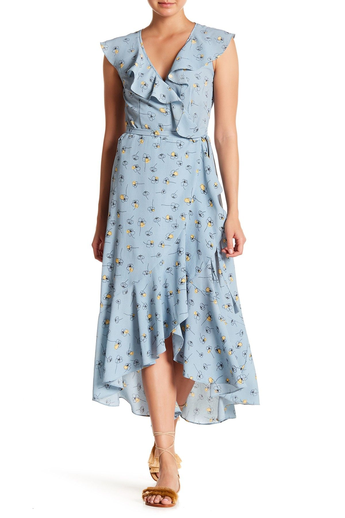Max Studio Patterned Ruffle Wrap Midi Dress Nordstrom Rack Wrap Midi Dress Wrap Dress Fashion [ 1800 x 1200 Pixel ]