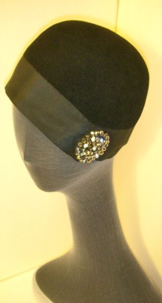 black fur felt cloche with wide ribbon band and rhinestone ...