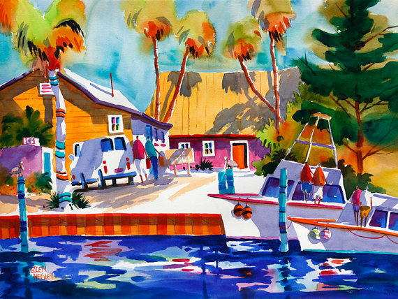 Key West Print Key West Painting Beach Art Beach Print Tropical