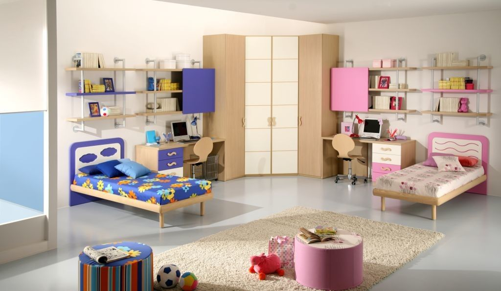 pink and blue innovative boys and girls shared bedroom decor with corner closet and pink and