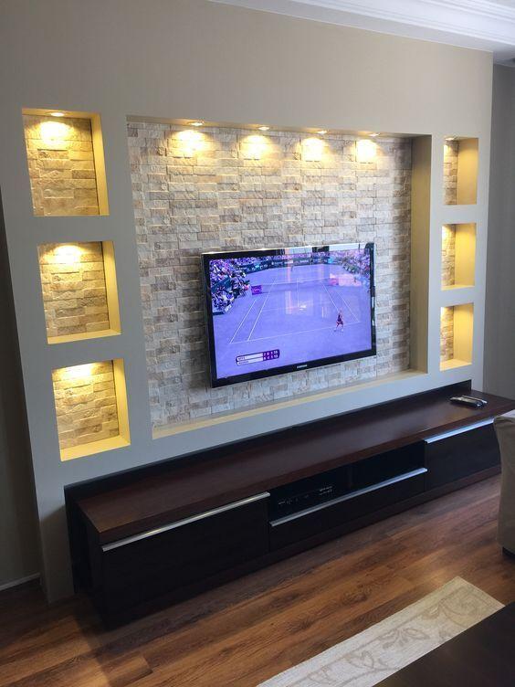 Tv Wall Ideas In 2020 Tv Unit Furniture Design Ceiling Design Living Room Tv Wall Decor