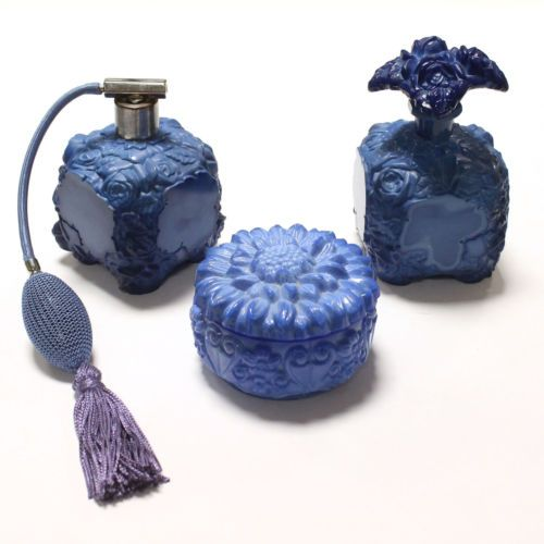 3-Art-Deco-Lapis-Blue-Glass-Vanity-Set-Perfume-Bottles-Powder-Jar