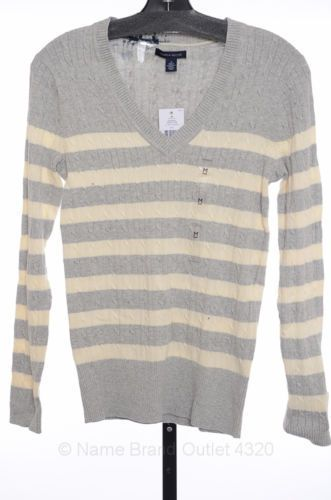 Tommy Hilfiger Long Sleeve Cable Knit V-Neck Sweater Grey Heather MEDIUM #TommyHilfiger #VNeck