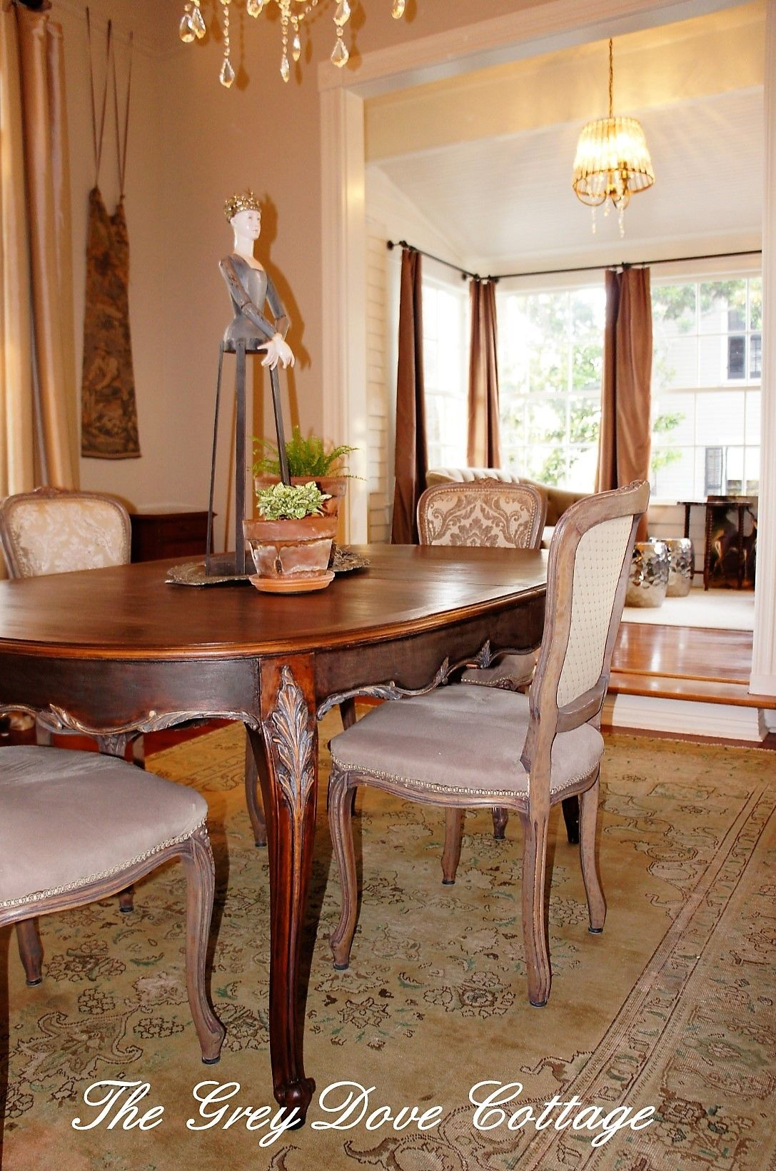 French Country Dining Room Foyer Neutral Color Scheme Antique Persian Rug