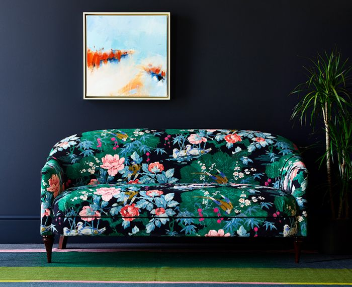 Sofa upholstered in a beautiful stain resistant velvet upholstery fabric with a floral and bird design. #velvetfabric #velvetinteriors #interiordesign #velvetupholsteryfabric