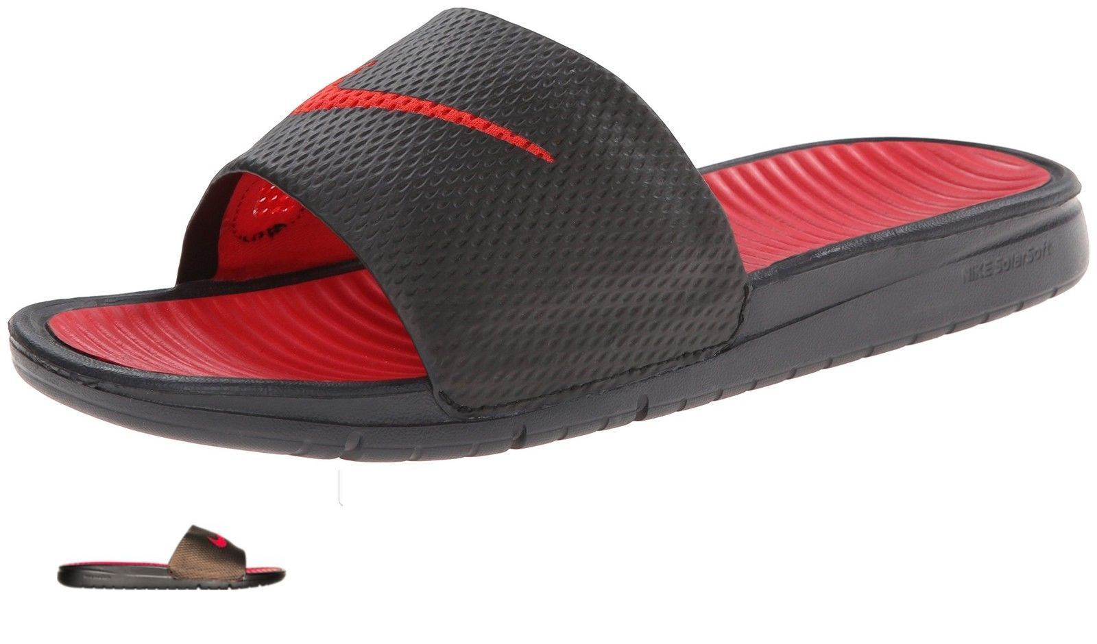 Sandals and Flip Flops 11504: Nwt Nike Benassi Solarsoft Black Red Men S  Slides Slide