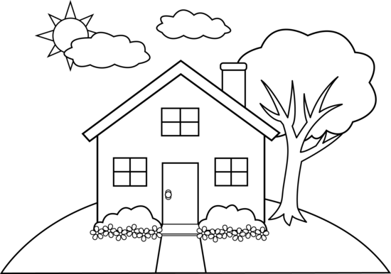 Cute Colorable House On A Hill Coloring Pages House Colouring