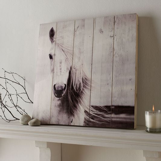 Horse print on wood wall art