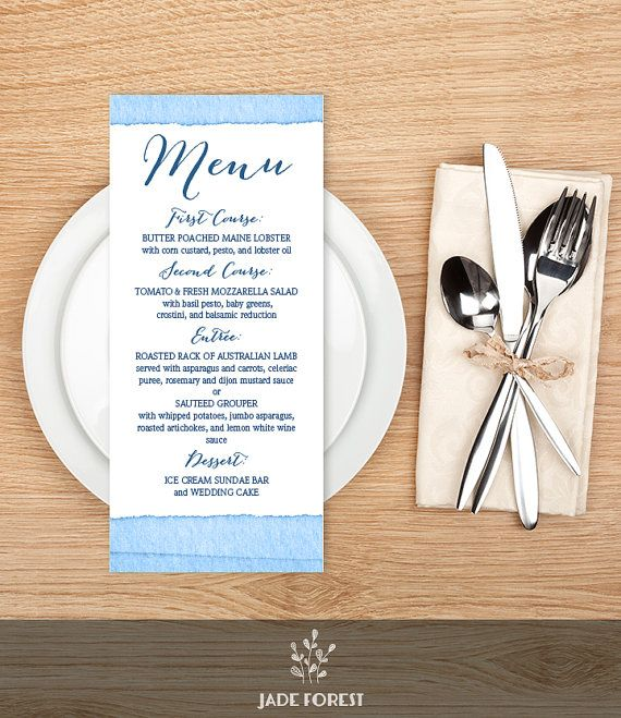 Wedding Menu Card DIY // Nautical Ombre by JadeForestDesign ...