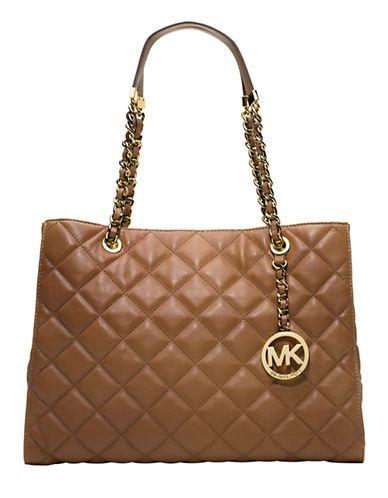 4d1dfbc89cd6 Michael Michael Kors Susannah Quilted Leather Tote Bag MUSHROOM ...