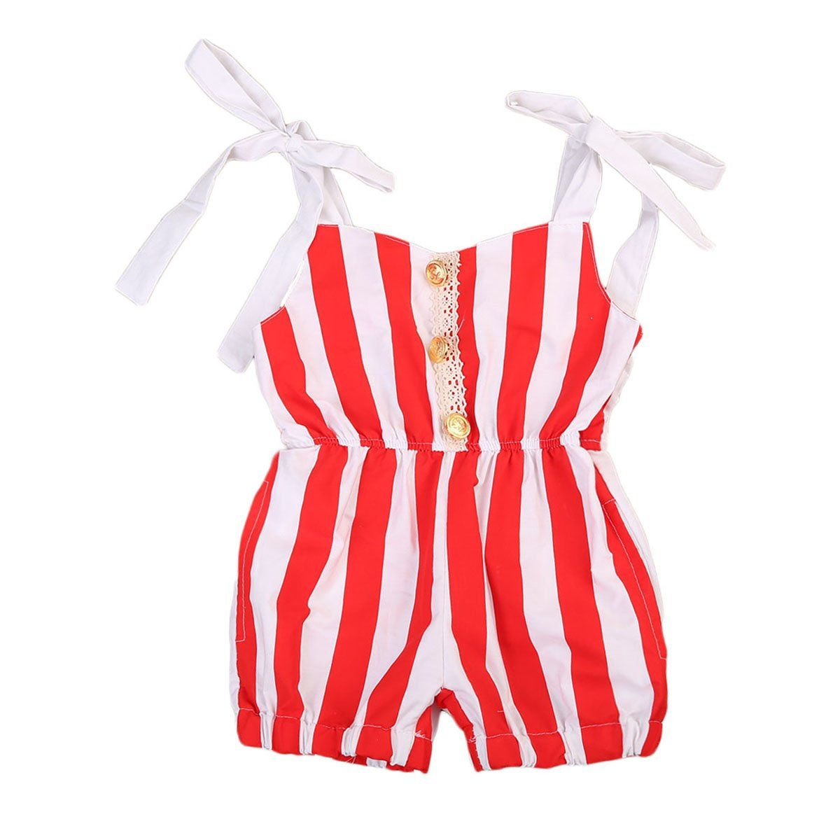 844fa03f8bf5 Cute Newborn Baby Girls Red Striped Romper Lace Shoulder Jumpsuit Outfits  Sunsuit Clothes