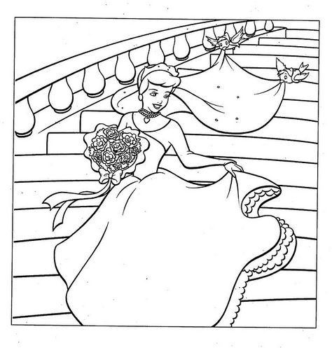 Cinderella Wedding Dress Coloring Page Coloriage Pages De Coloriage Disney Coloriage Princesse