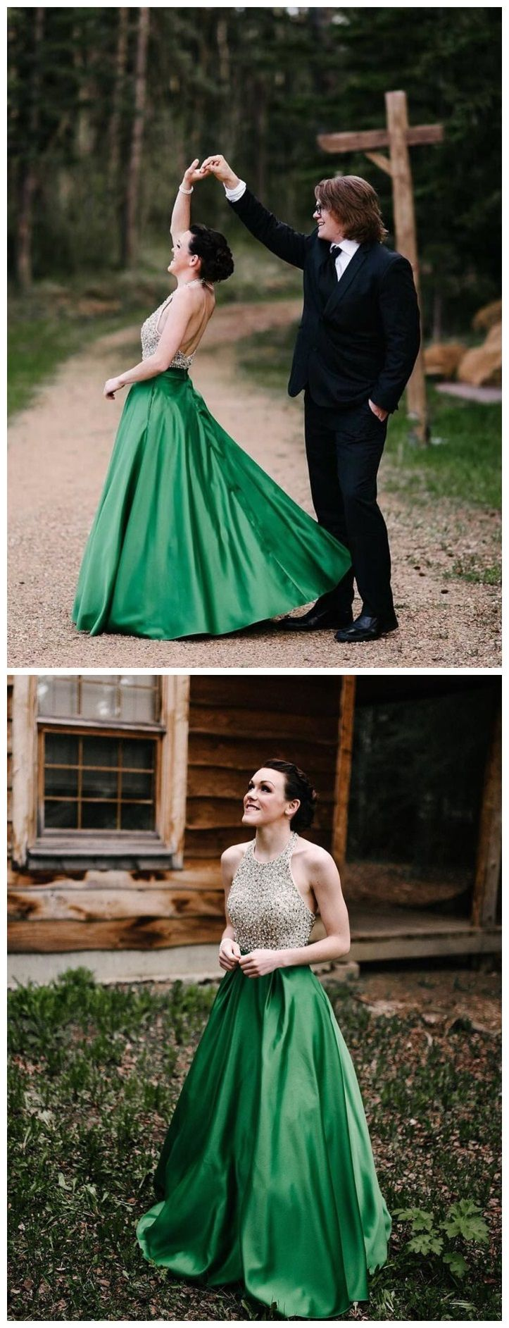 Halter emerald green beaded prom dresses backless satin long prom
