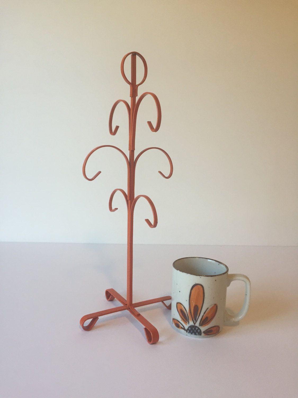 Vintage Orange Mug Tree Coffee Cup Rack Mug Holder Retro Kitchen Mug Tree Stand Jewelry Holder Orange Mugs Mug Tree Coffee Cup Rack