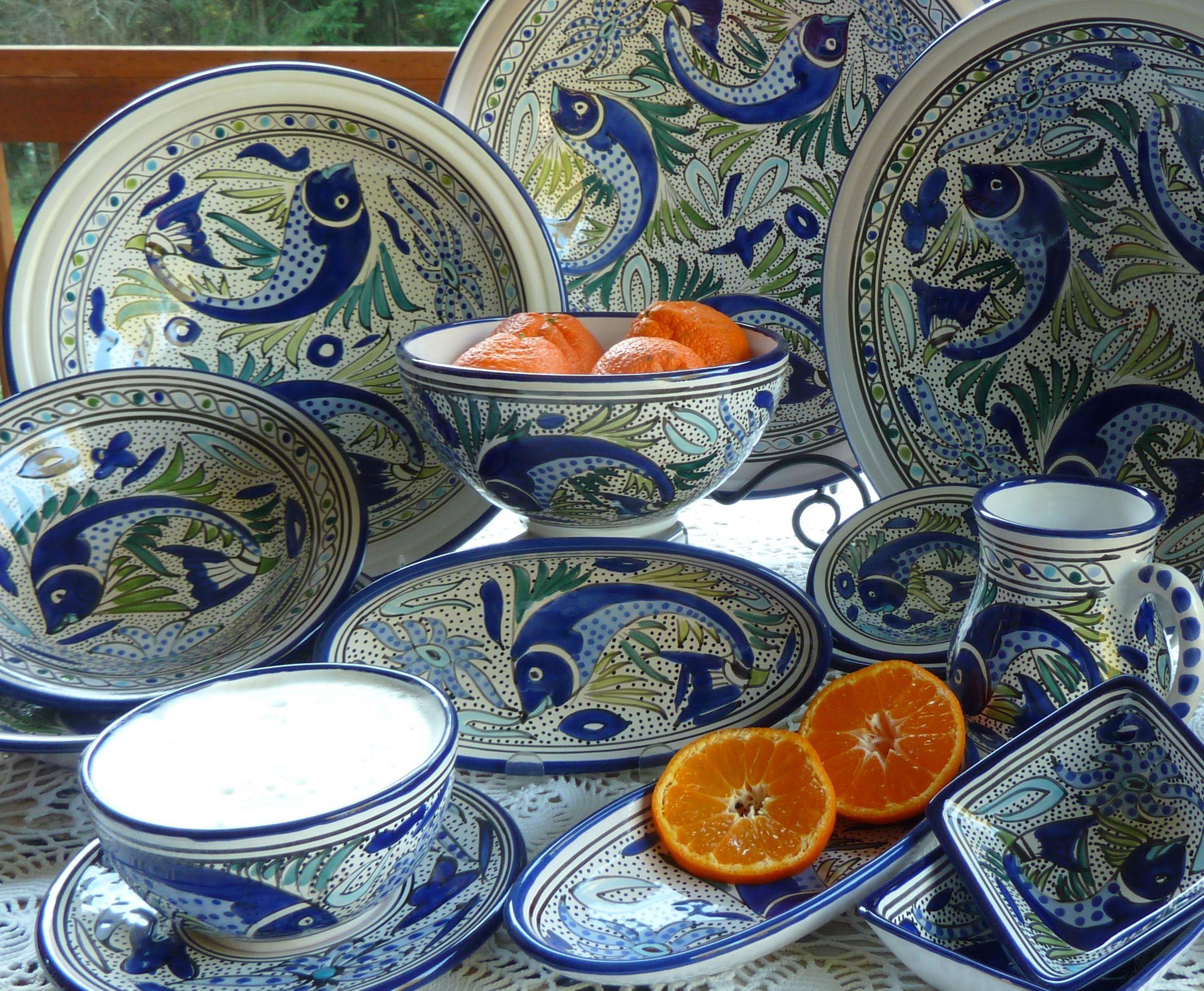 """Santorini"" Hand-painted Dinnerware Collection | Tunisian ..."