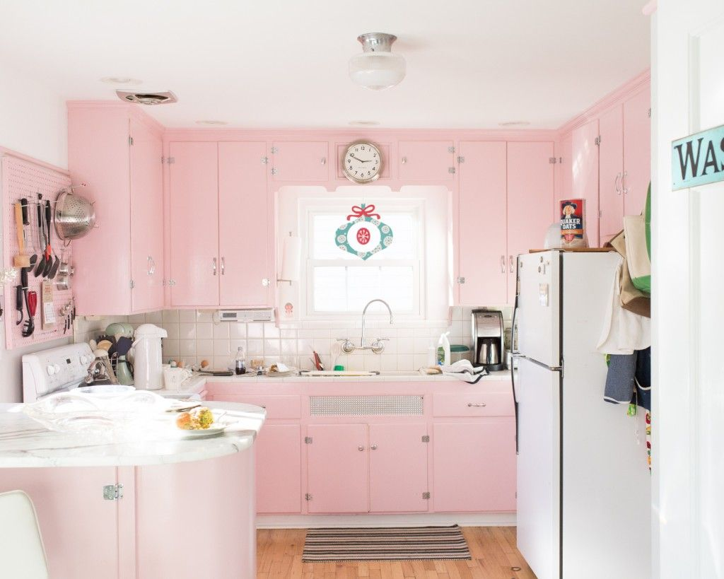 25 Pastel Kitchens That Channel The 1950s Pink Kitchen Cabinets Pink Kitchen Pink Kitchen Designs