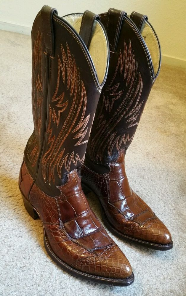 a71f579c95d VTG RARE Justin Alligator Wingtip Brown Mens Cowboy Boots 8.5D Style ...