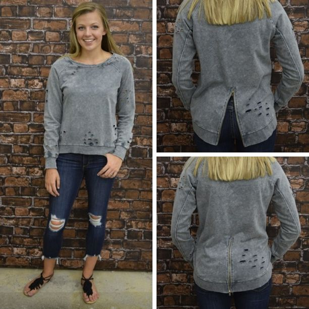 DISTRESSED OUT GREY SWEATSHIRT - $50 . . . #summerfashion #newarrival #ootd #shoplocal #shopaldm #fashion #ontrend #obsessed #apricotlanedesmoines #shopaldm #distressed