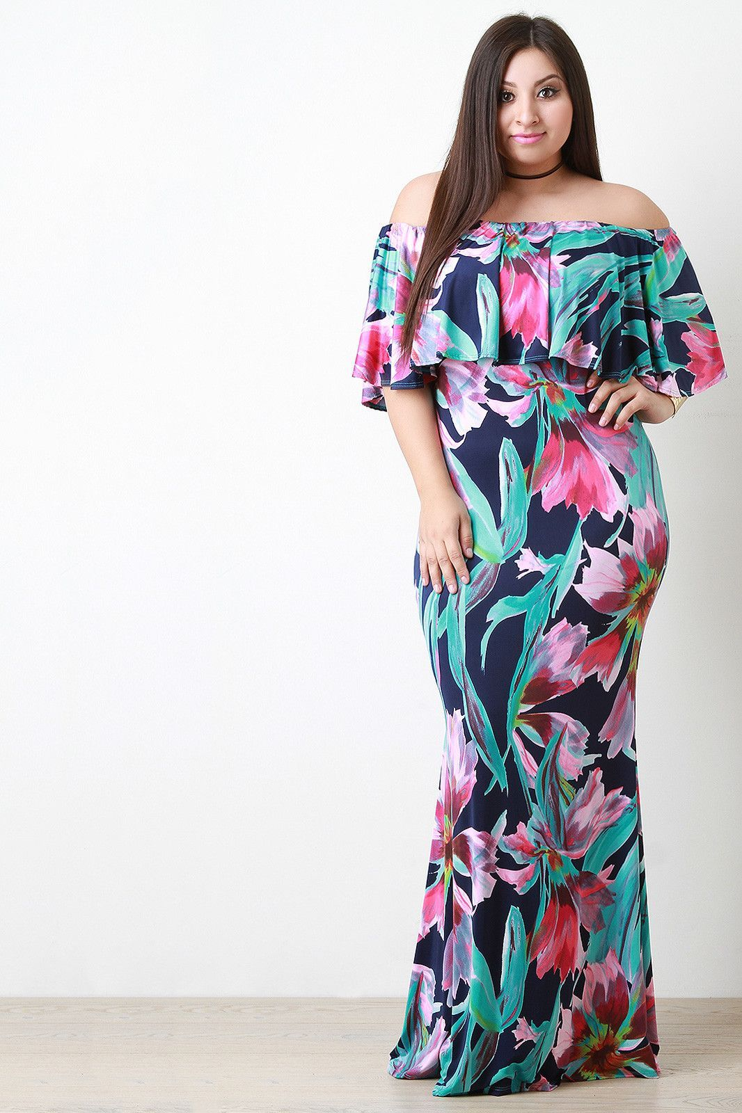 Floral Pattern Bardot Mermaid Maxi Dress | Plus Chic outfit | Plus ...