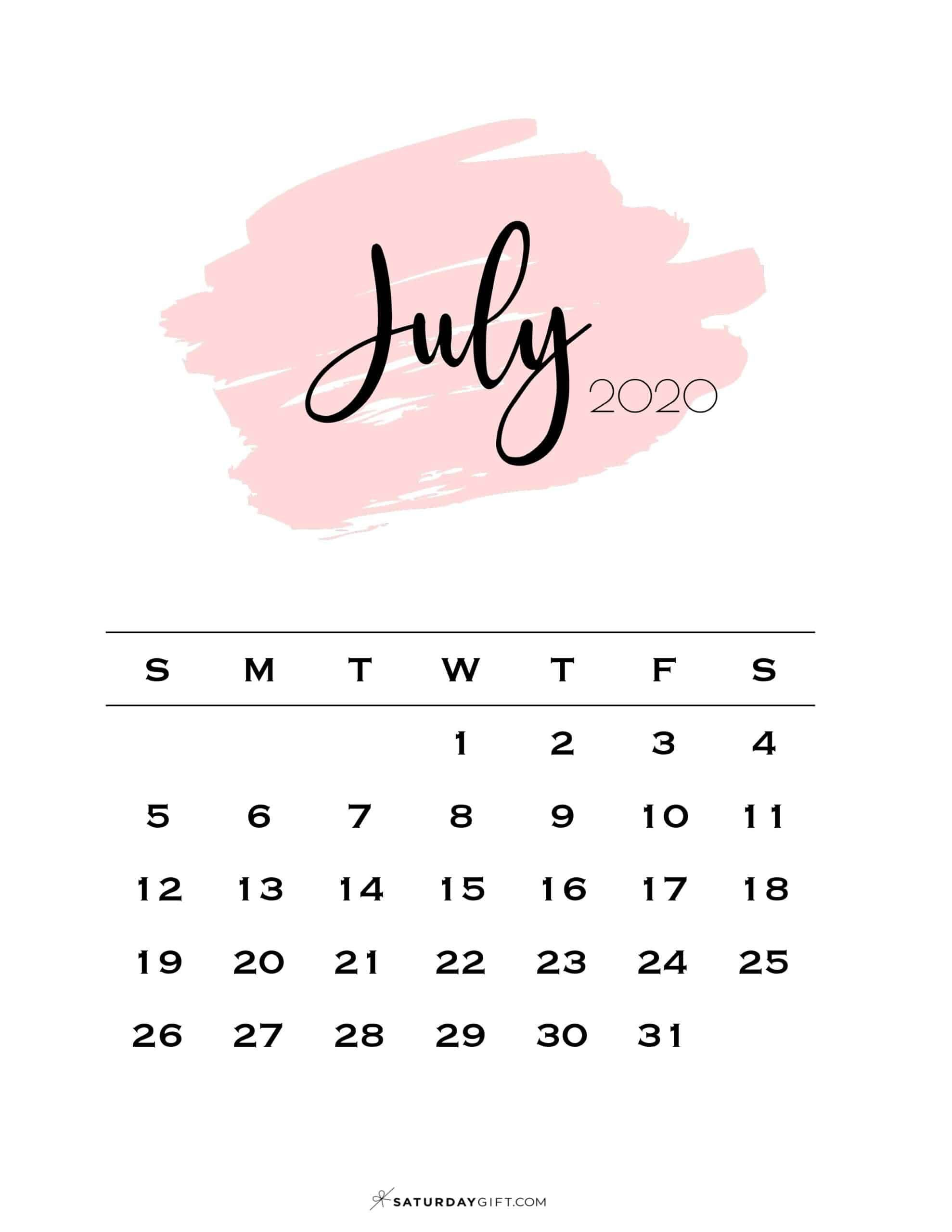 Cute Free Printable July 2021 Calendar Saturdaygift In 2020 July Calendar Calendar Wallpaper Calendar Design