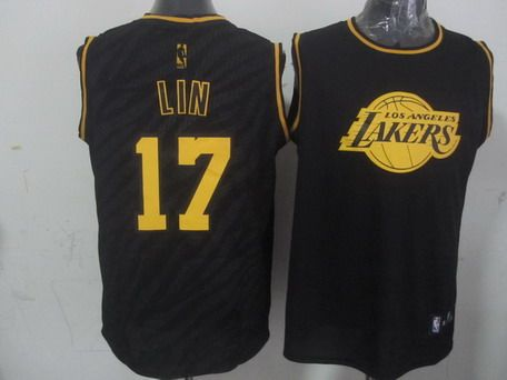 e0fba45f3 Los Angeles Lakers  17 Jeremy Lin Revolution 30 Swingman 2014 Black With  Gold Jersey
