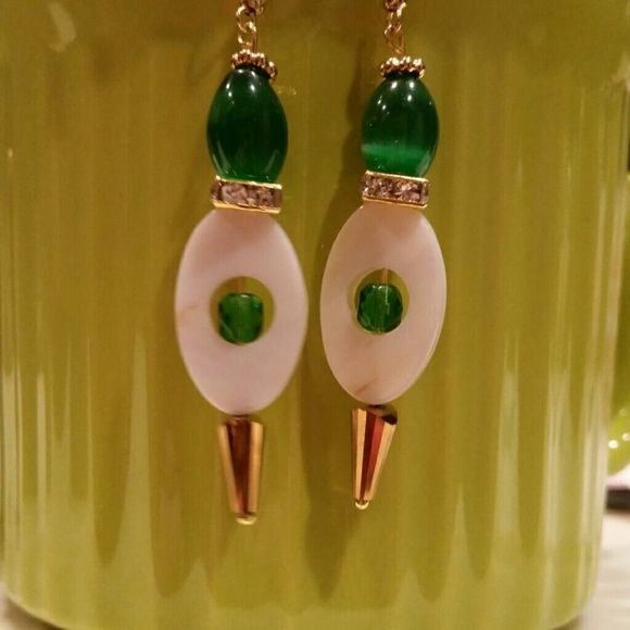 Emeralds golden ivory dangles Beautiful for any red blooded Irish girl for the Celebration of St . Patrick's day! made of high quality beads! glass, crystal and shell. 1of a kind designs! #Earart #GREATLUCK # SPARKLESHINE #SHINELIKEASTAR # CLASSY #Sassy #Simplymarvelous #UwilllookMarv #Perfectgift #strikinglyBeautiful #LuckBWithU Mine  Jewelry Earrings