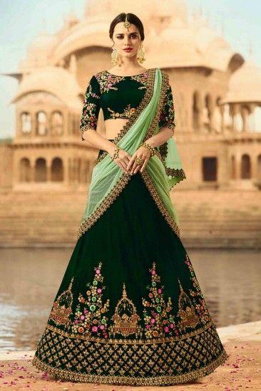 5b0922bd750e6 #AndaazFashion - Designer Dark Green Velvet Lehenga With Velvet Choli -  DMV12451
