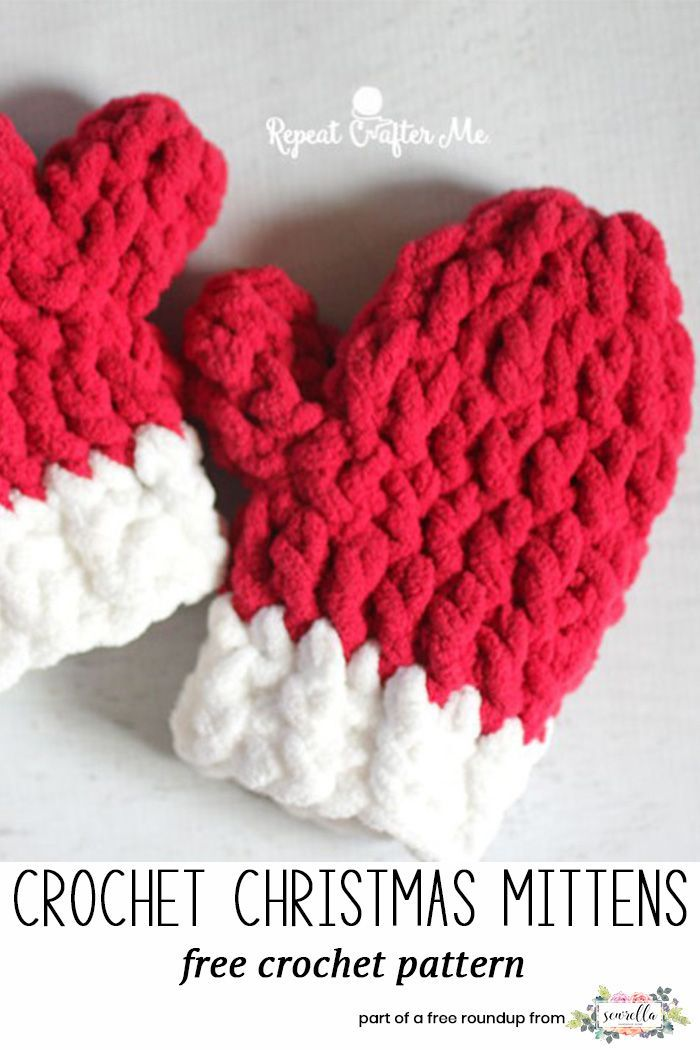 Crochet Last Minute Christmas Patterns Mittens Free Pattern And Santa