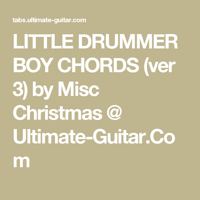 Little Drummer Boy Chords Ver 3 By Misc Christmas Ultimate