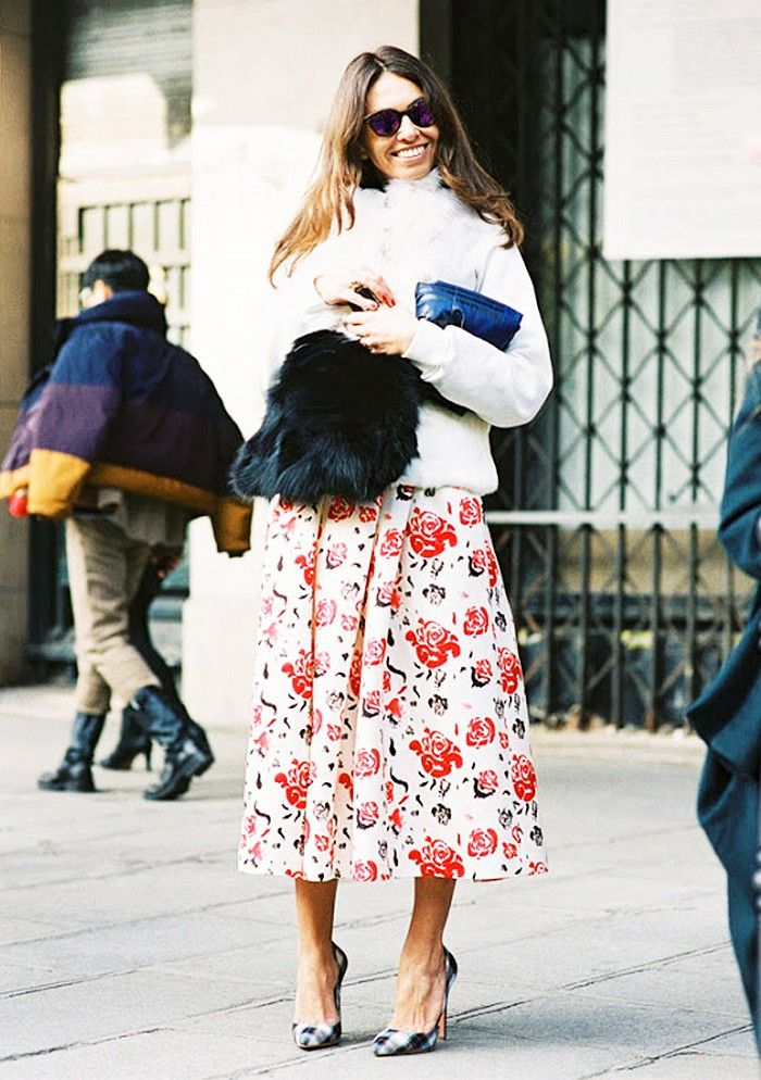 Wear your summer skirt into fall by pairing it with a fuzzy sweater