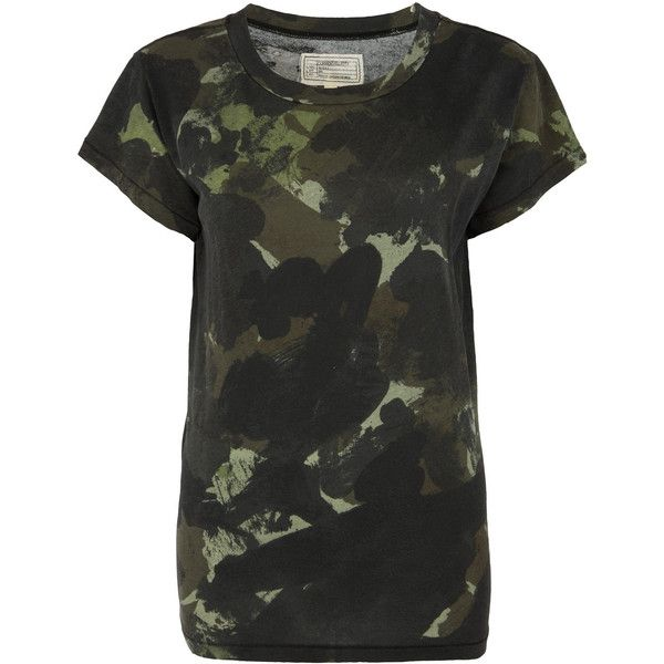 Current/Elliott Green Army Camouflage Print T-Shirt ($190) ❤ liked on Polyvore featuring tops, t-shirts, relaxed fit tee, slouchy t-shirt, camouflage tee, relaxed fit t shirts and army green t shirt