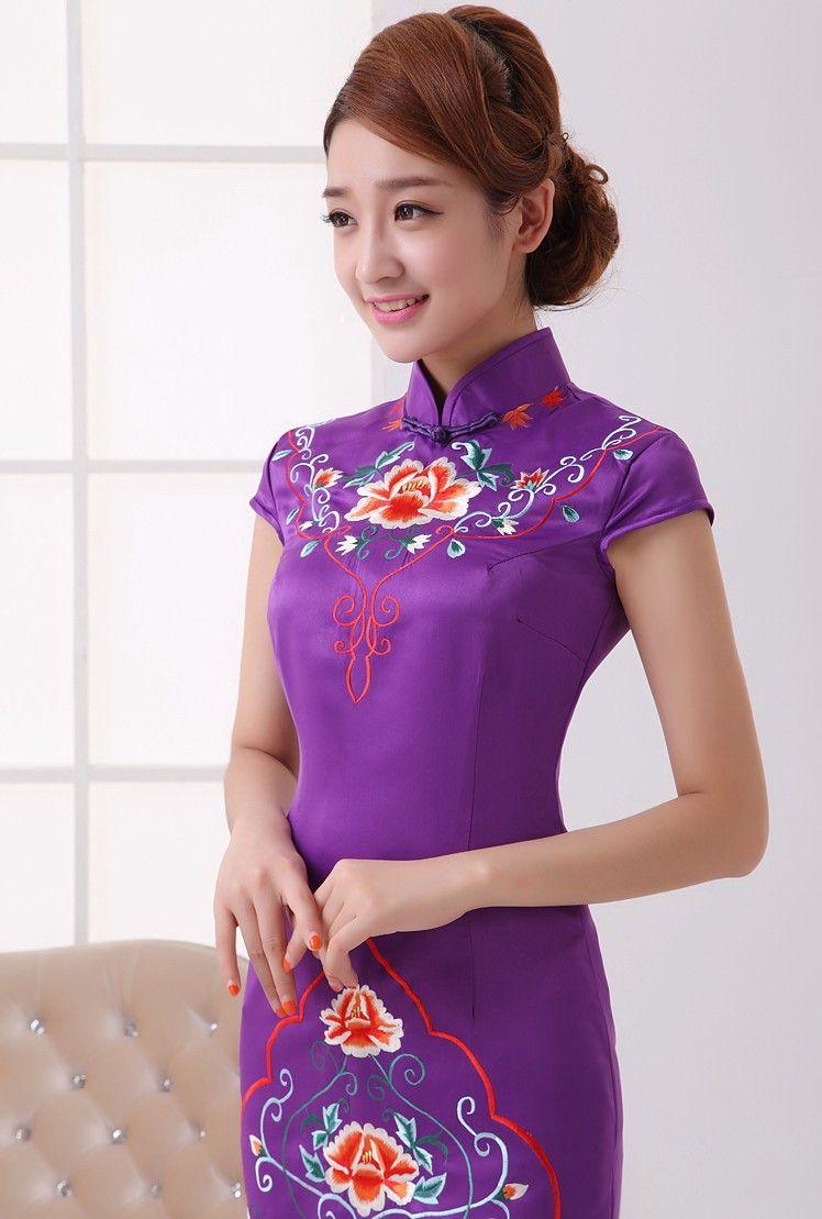 Purple silk floral embroidery mini cheongsam qipao dress cheongsam