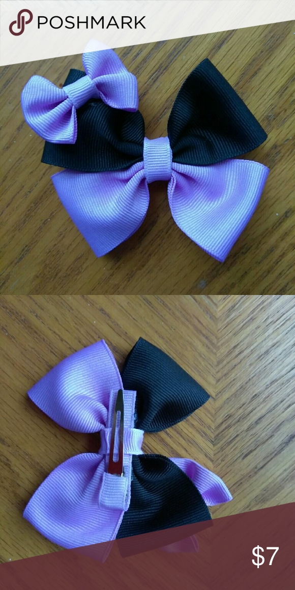 "Precious lavender bow Lavender and black hair bow on lined clip with a mini bow attached. Measures approx 4"" made with 1.5"" grosgrain ribbon.  If you would like a different color msg me with your request Accessories Hair Accessories"