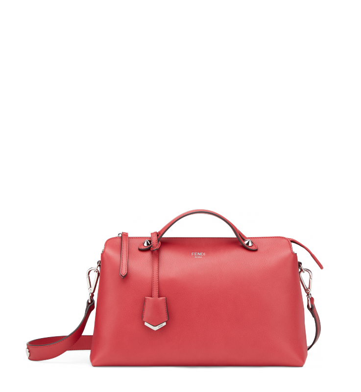 BY THE WAYVersatile cherry red By The Way calfskin shoulderbag with top handle and palladium metal details.Made in Italy