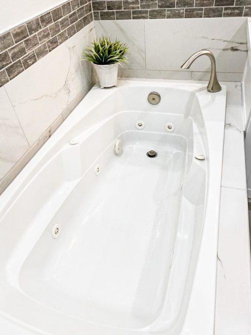 White Marble Patterned Tile Bathroom Remodel - Kirkland ...