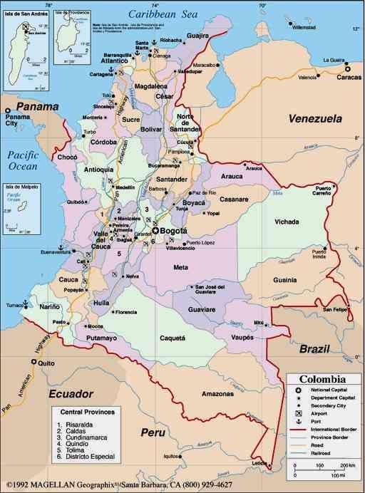 Mapa de Colombia Mapa Politico Departamentos Ciudades Islas
