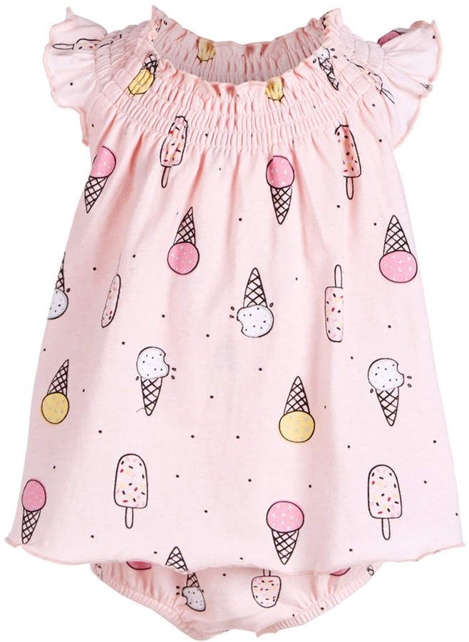 52c9e4aeb180 First Impressions Baby Girls Ice Cream Cone-Print Cotton Skirted Romper  Romper With Skirt,