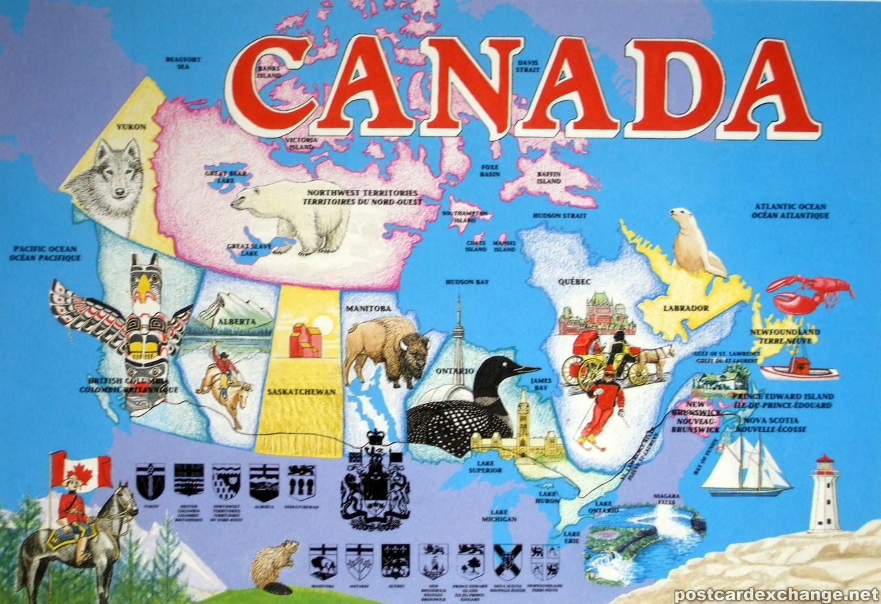 Pin canadian national railroad map on pinterest - Map Of Canada Postcard