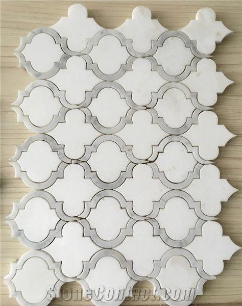 Calacatta Gold Marble Thos Waterjet Mosaic Tiles Italy White Basket Weave Mosaics Stips