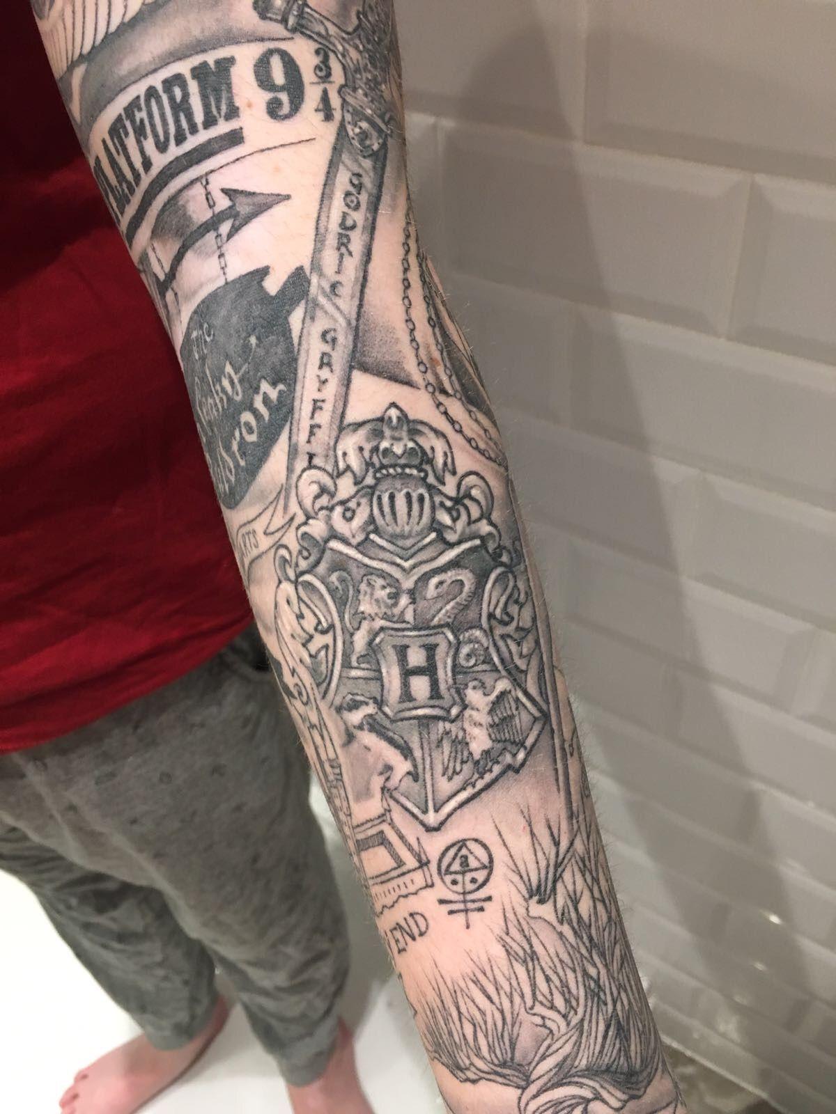 Harry potter sleeve tattoo google search harry potter for Harry potter sleeve tattoo